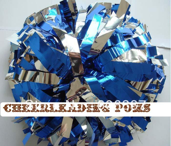 cheerleading Pom poms 3/4 inchx 6 inch~custom color metallic silver metalllic blue handmade new mini order 10 pieces - Cheerlife Store store