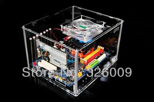 DIY the horizontal transparent to the PC case, acrylic, a bright blue LED, ATX, personalized fashion PC case QDIY 05(China (Mainland))