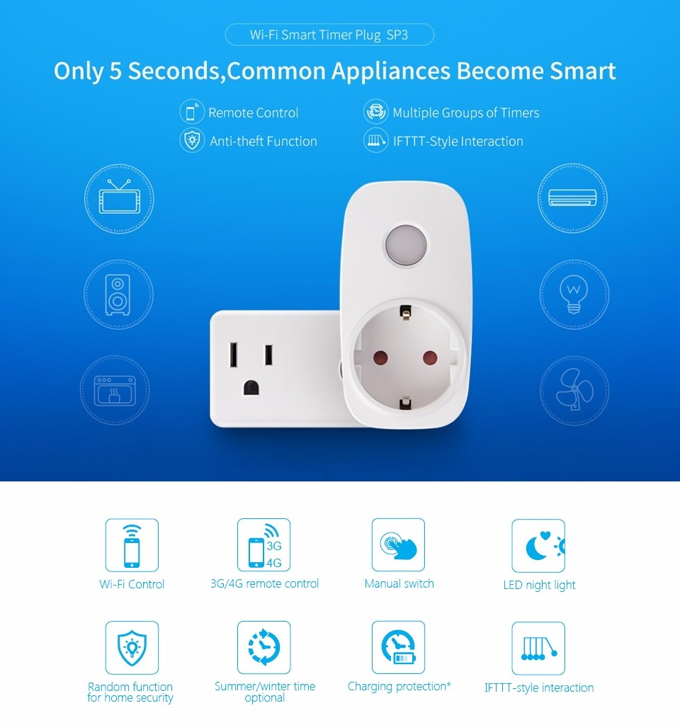 image for Broadlink SP3 Cc Socket EU US SP Mini3 Contros Smart Plug Wireless WiF