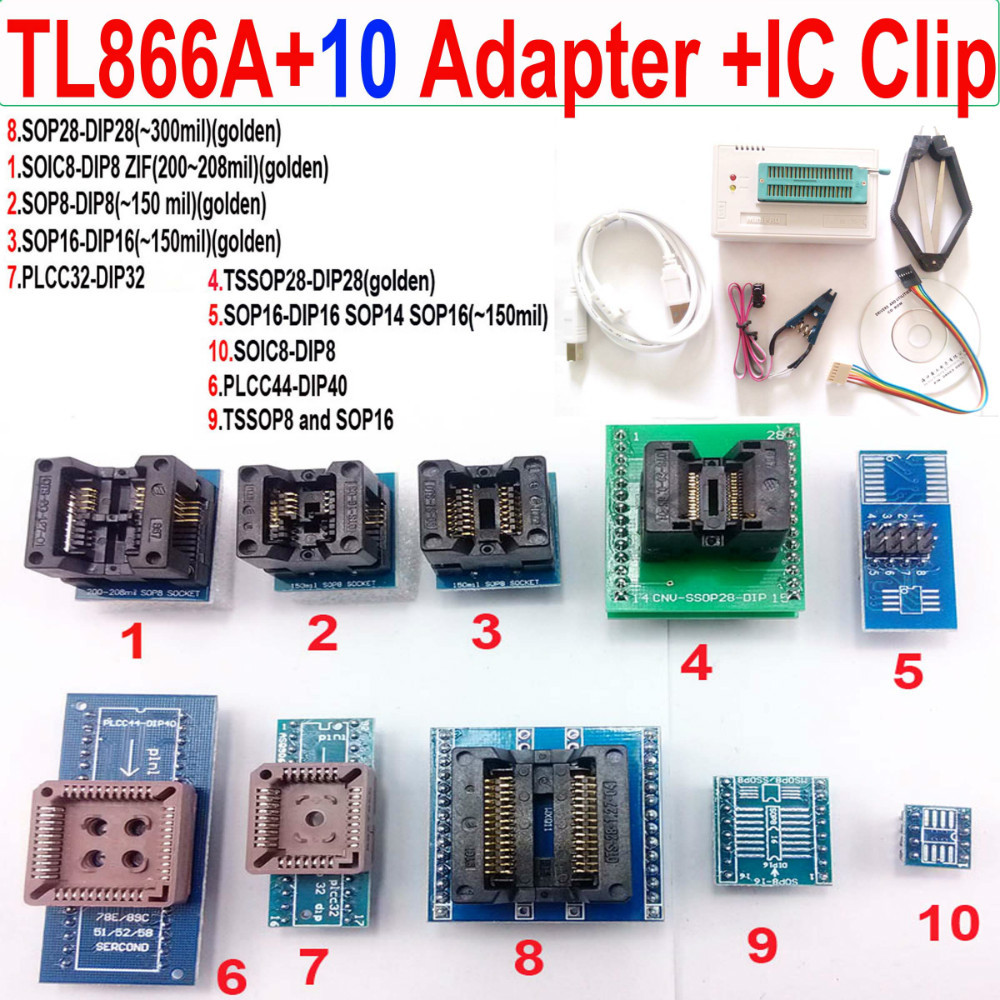 Russian English User Manual TL866A Programmer +10 adapters eeprom high speed USB programmer SOIC8 SOP8 universal IC clamp(China (Mainland))