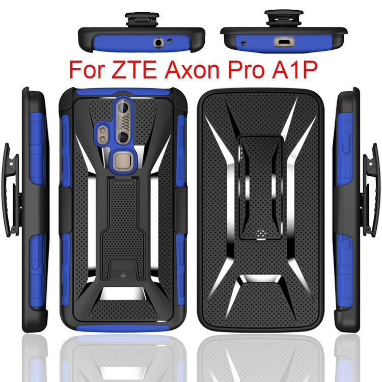 500pcs/lot Heavy Duty Rugged Armor Belt Clip Defender Holster Case For  ZTE Axon Pro A1P Cover With Kickstand Shockproof