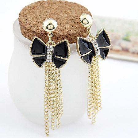 2014 New Fashion Enamel Black Bowknot Drop Earrings for Women Gold Chains Tassel Dangle Brincos De Festa Pendientes Jewelry(China (Mainland))