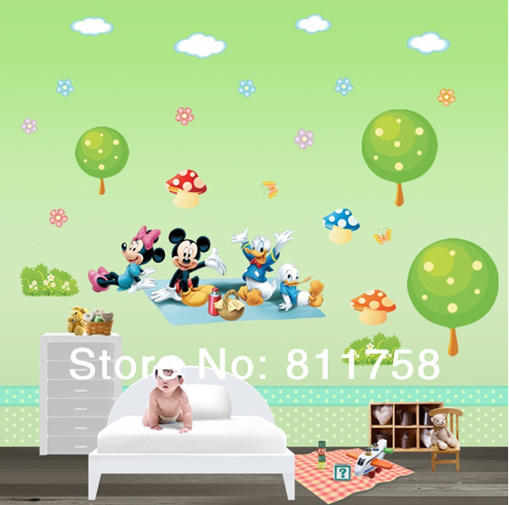 free shipping new cheap removable pvc mickey mouse wall cheap wall paper bright light wall sticker for kids room