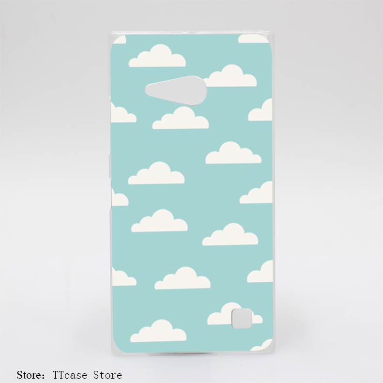 757G Cute Clouds On Blue Sky Print Hard Transparent Clear Case for Microsoft Nokia Lumia 535 630 640 640XL 730 Cover(China (Mainland))