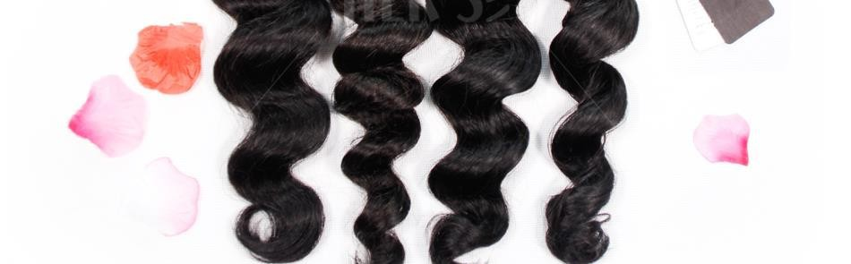 Peruvian Loose Wave Virgin Hair With Closure,3PCS Human Hair Weave Bundles With Full Frontal Lace Closure 13×4 With Baby Hair