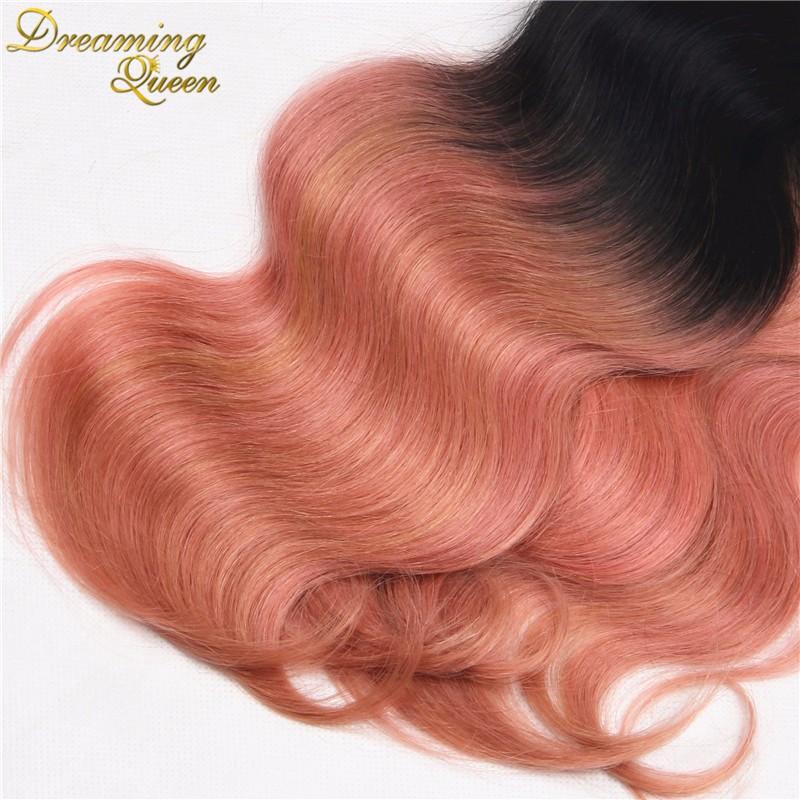 Rose Quartz Gold Ombre Peruvian Body Wave Virgin Hair Weave Bundles,4 pcs 7A Pink Gold Peruvian Ombre Human Hair Extensions cheap