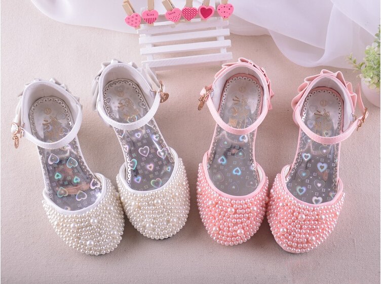 2016 New Shiny Pearls Kids Wedding Party Girls Shoe Summer Sandals Girls Princess Shoes Childrens High Heels Free Shipping<br><br>Aliexpress