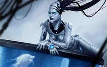robot android girl rain aquarium fish water cable 12x18 20X30 24X36 32x48 inch Poster Print 10(China (Mainland))