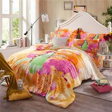 3d Reactive Printing Super Soft Wholesale Luxury Orange Gold Duvet Cover Set for Queen King Size Bed 100% Tencel Silk bedlinen(China (Mainland))