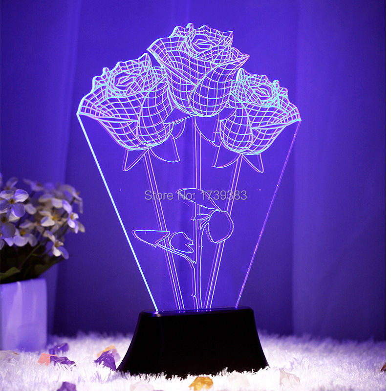 Holiday's Day Gift 3D Stereo Dreamlike Sweet Atmosphere lamp Night Light Heart Rose Starry sky USB LED Table Lamp Free Shipping(China (Mainland))