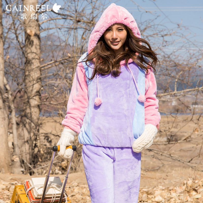 Song Riel autumn and winter Ms long sleeved flannel pajamas thick sweet hooded tracksuit suit Yu