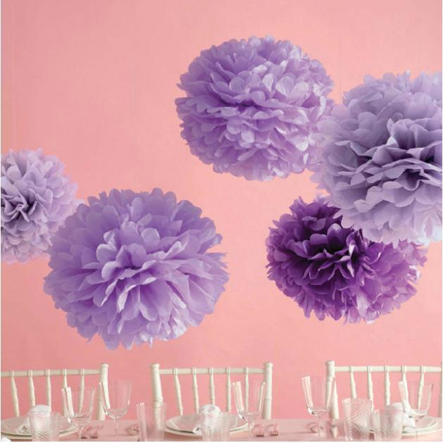 "10pcs Mixed Two Size(4"" 6"") Tissue Paper Pom Poms Artificial Flowers Balls Birthday Wedding Decoration Kids Party Supplies(China (Mainland))"