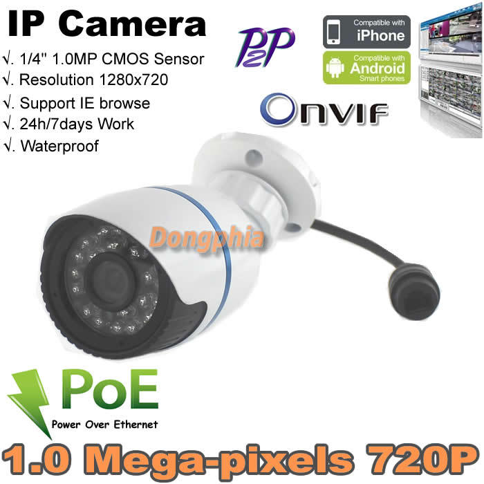 Free shipping Waterproof motion detection 1.0Megapixel Indoor/Outdoor HD Onvif IR-Cut P2P Security Network IP Camera PoE(China (Mainland))