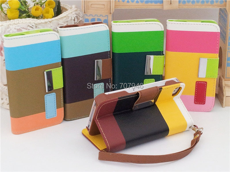 Candy Colors New Hybrid Stripe Flip PU Leather Pouch Wallet Stand Case Cover For Apple iPhone 4 4G 4S 5 5G 5S Mobile Cell Phones(China (Mainland))