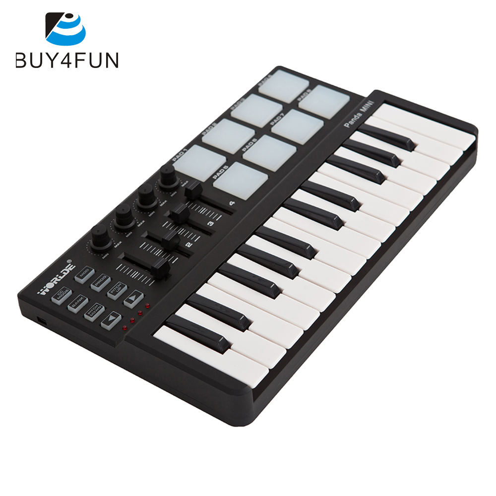 High Quality Panda mini Portable Mini Keyboard and Drum Pad 25-Key USB MIDI Controller with Durable USB Cable(China (Mainland))