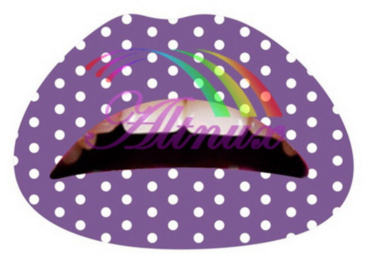 Mix color Lip Sticker Transfer Disposable Lips Tattoo Lip stick Art Makeup for Party/cosplay--Purple with white dot(China (Mainland))
