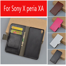 Business Style New Luxury PU Leather Case Sony Xperia XA / Flip Protective Phone Shell Back Cover Skin Slot - Mobile phone accessories shop Store store