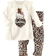 100% cotton Hello Kitty baby pajamas/2-piece set: long-sleeved top+gray pants/leopard pants/Free shipping