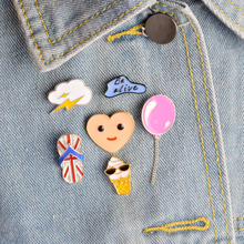 6 pcs/set Cartoon Balloon Lightning Clouds Love Heart Ice cream Slippers Smile Face Brooch Pins Button Pins Jacket Badge Jewelry(China (Mainland))