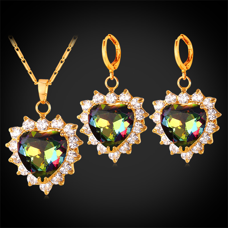 Valentines Day Jewelry Set For Women Gift Romantic Love Heart 18K Gold Plated Crystal Earrings And Necklace Set Wholesale IS1184(China (Mainland))