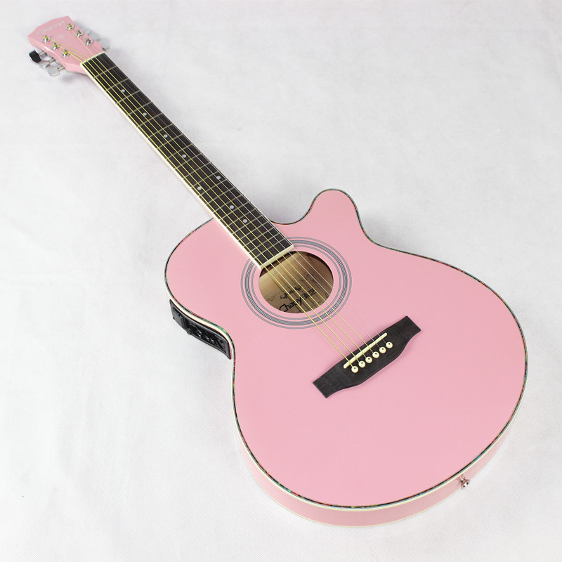 Pics For > Electric Acoustic Guitar Pink
