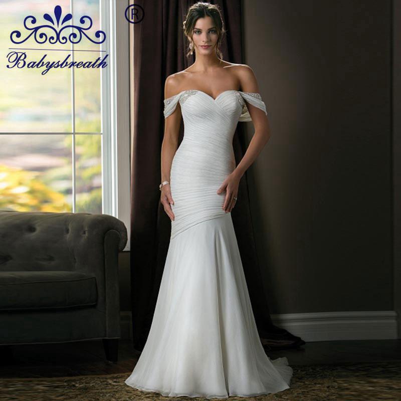 Vestidos De Noiva Casamento Coloridos Bordados 2016 Сексуальная Русалка Свадебные Платья Белый Дизайнеров Pleat Халат Свадебные Платья