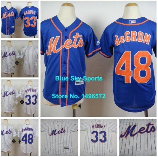 New York Mets Kids Jersey 48 Jacob deGrom Jersey 33 Matt Harvey White Blue Stitched Youth Baseball Jersey Free Shipping(China (Mainland))