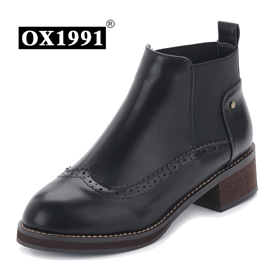 35-39 Casual Brogue Women boots Fashion Leather Women Ankle boots OX1991 Brand Handmade Brand Women Spring Boots(China (Mainland))