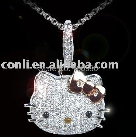 Hot Sale Women Summer Jewelry Crystal Rhinestone With Bow Hello Kitty Pendant Necklaces For Women Hello Kitty Jewelry(China (Mainland))