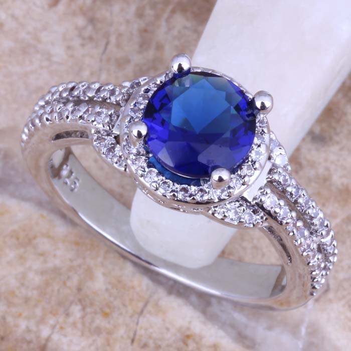Terrific Blue White Topaz 925 Sterling Silver Ring Women Size 5 / 6 7 8 9 10 & Jewelry Bag S0441 - jewelry1688 store