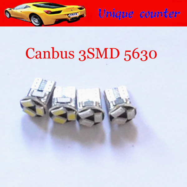 Super Bright T10 W5W Canbus error 3 SMD 5630 LED 3SMD 3LED License Plate Lights instrument lights Interior Bulbs DC12V White - Unique lamp counter store