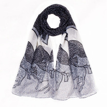 2016 Summer Scarf Women Shawls And Scarves Horse Printed Cachecol Designer New Fashionable Horse Scarves Size 180*50cm No.02100(China (Mainland))