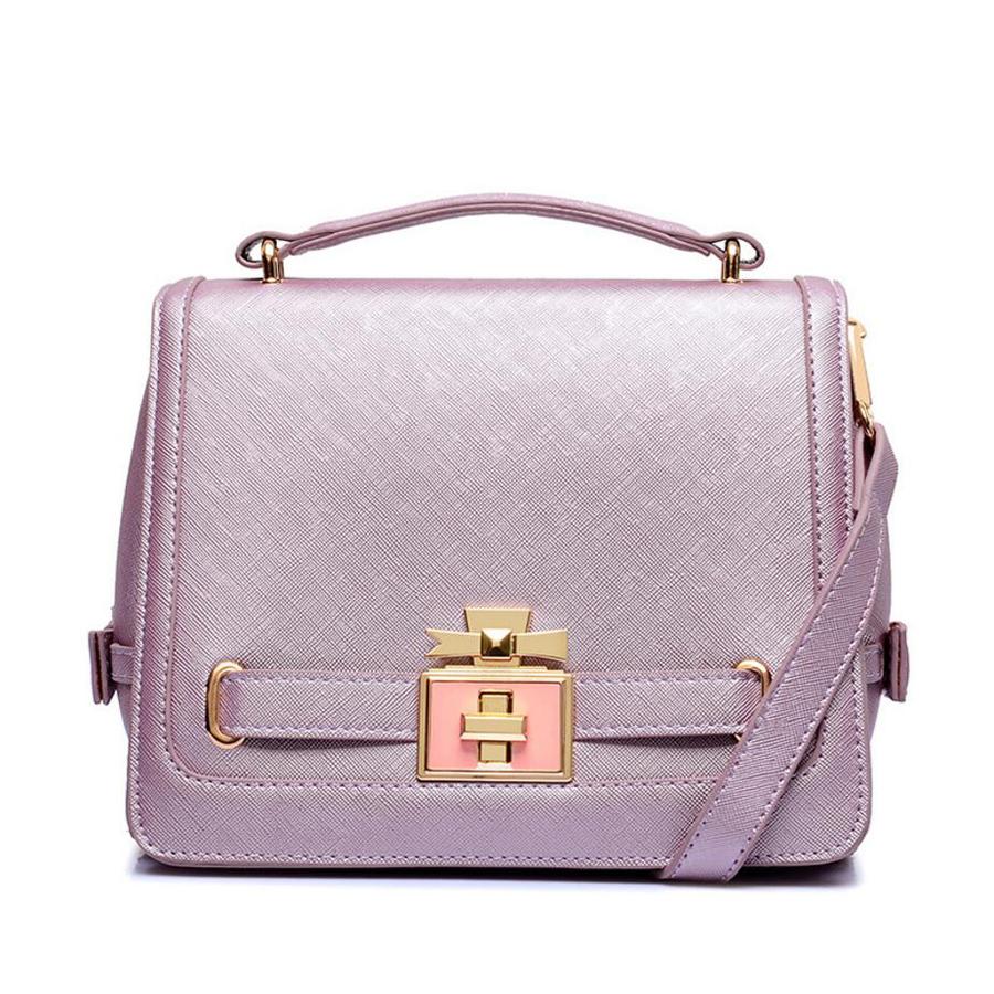 2016 Classic brand High quality leather handbag with gold Perfume lock woman bags fashion designers bolsas femininas(China (Mainland))