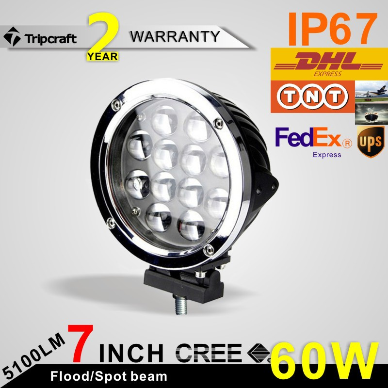 2PCS Silver 7INCH 60W CREE LED DRIVING WORK LIGHTS SPOT/FLOOD OFFROAD TRUCK 12V/24v LED WORKING LIGHT(China (Mainland))