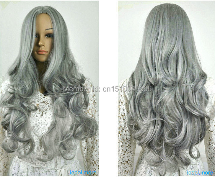 YJ6258S > fine Hair Wig silver Gray Wavy long curly Fancy wigs(China (Mainland))