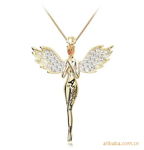 18K Gold Plated Zircon Crystal design Angel wings Necklaces & Pendants Fashion Jewelry for women(China (Mainland))