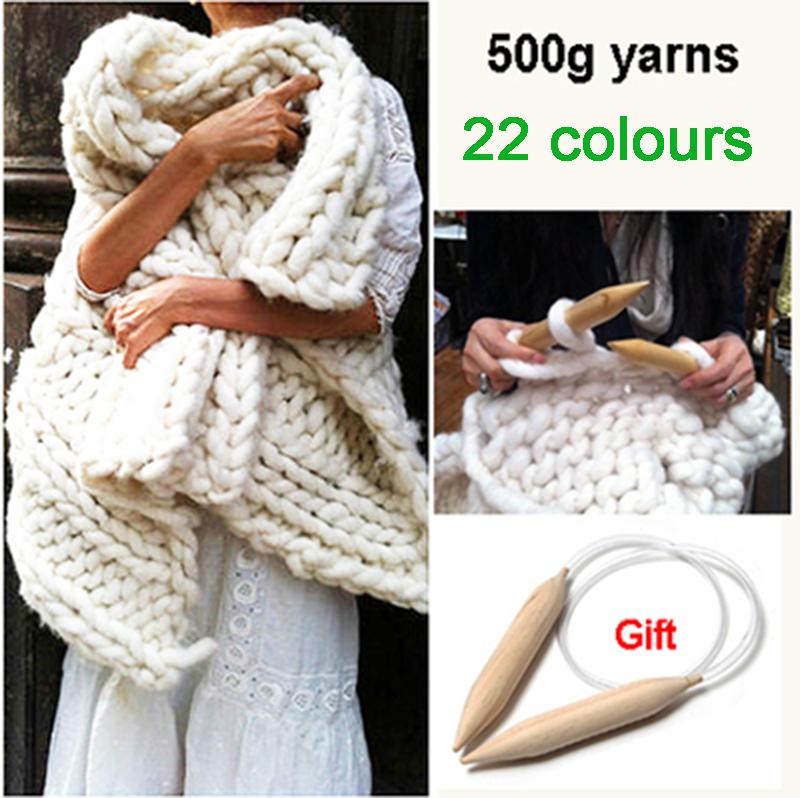 Super Thick Yarns For knitting High Grade Thick Yarn For Hand Knitting Wool yarn crochet Free Needles Comely 500g(China (Mainland))