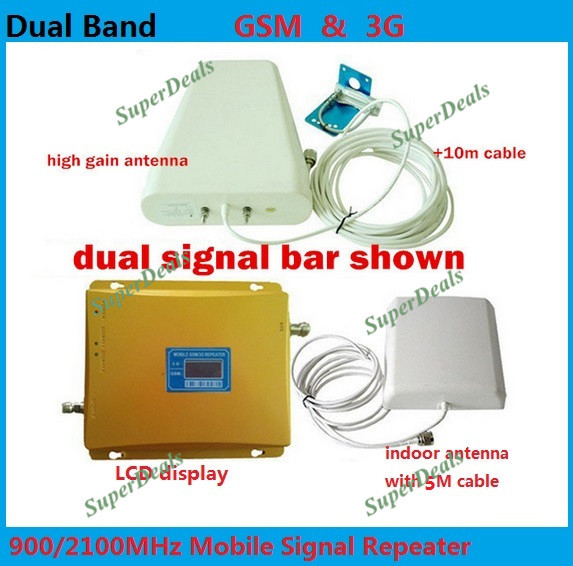 FULL SET LCD BOOSTER ! High gain Dual band 2G,3G signal booster KIT GSM 900 3G 2100 SIGNAL repeater amplifier Double signal bar(China (Mainland))