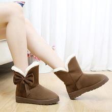 Kadın kış sıcak kar botları ayakkabı kürk siyah orta buzağı çizmeler peluş ayakkabı astarı kadınlar için dantel Up Botas mujer 2019(China)