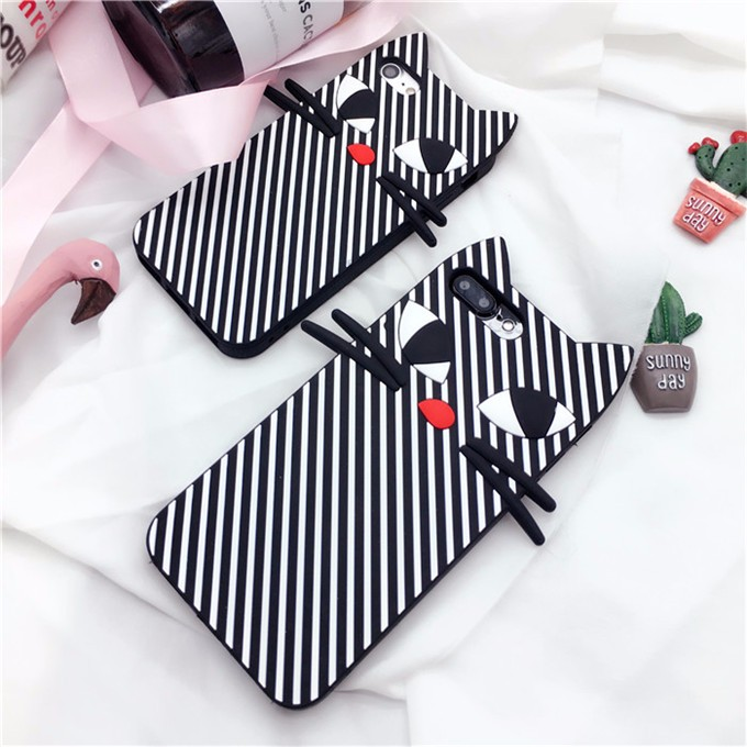 "For iphone 7 Cases Japan Cute Striped Black cat 3D Silicone Case For iphone 7 4.7″ 7Plus 5.5 "" Soft back cover Cartoon case"