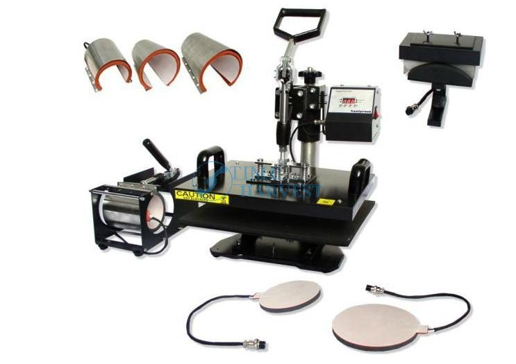 Multifunction thermal transfer 8 in 1/thermal combo heat press machine for sublimation plate, mug,tshirt, mouse pad<br><br>Aliexpress
