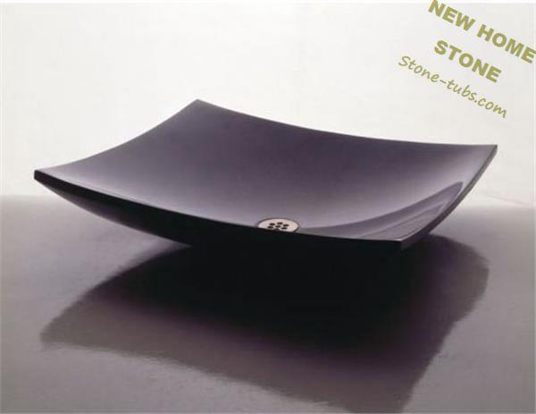 Pia de granito preto polido superfície de balcão da pia de granito banheiro e -> Pia Banheiro Granito Preto