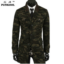 PUNKOOL arrival hot sale men's fashion casual winter trench canvas turn-down collar single breasted camouflage coat(China (Mainland))