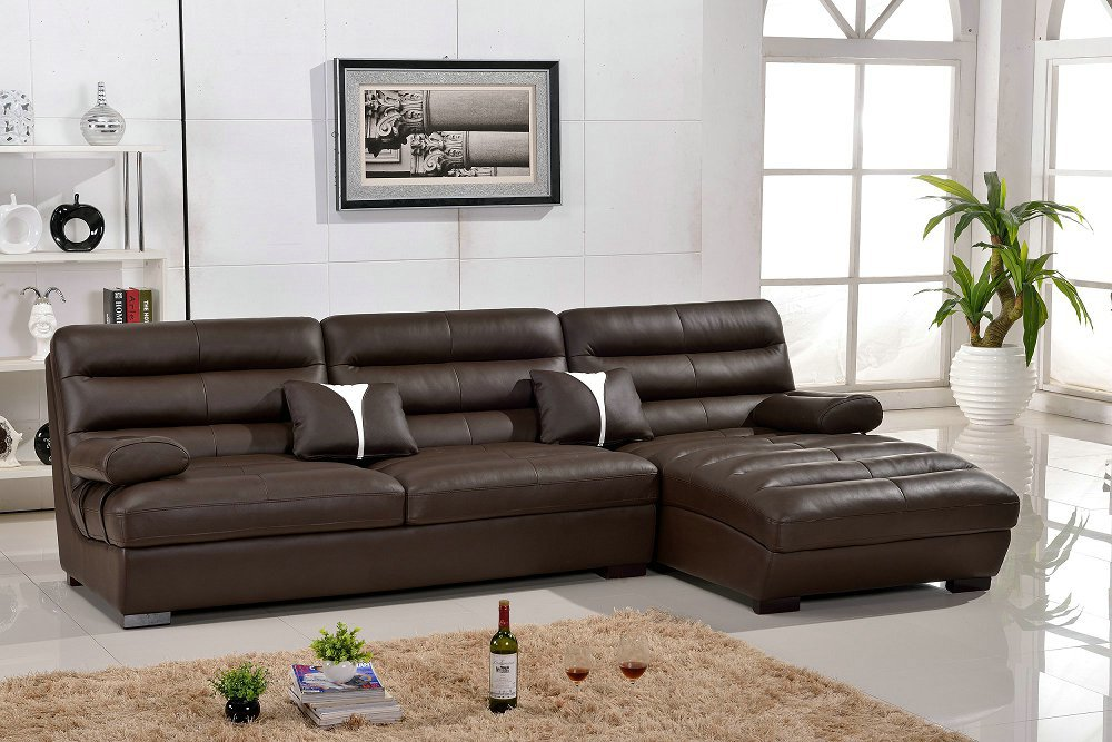 Lizz Furniture Leather Curve Sofa Leather Corner L Shape Sofa Special Design In Living Room