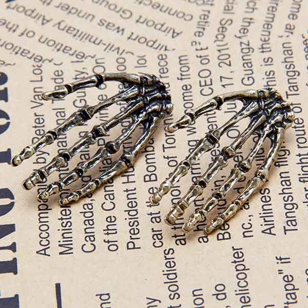 Buy 2015 New Punk Style Fashion Boutique Unique Hand Gun Black Skeleton Hand