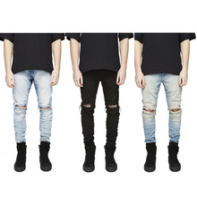 REPRESENT Jeans Cool Mens Designer Clothes Fashion Denim Jumpsuit Black/Light Blue Skinny Destroyed Ripped Distressed Jeans
