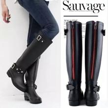 2016 new fashion Women shoes punk style heel riding boots zipper shoes Knight Tall boots Women rain boots large size 41(China (Mainland))