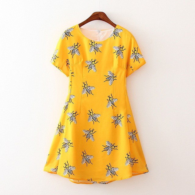 Party Dresses Time-limited Natural Broadcloth Knee-length 2015 New Fashion Insect Printing O-neck Women Dress Zj22 - LITTLE DREAM SHOP store