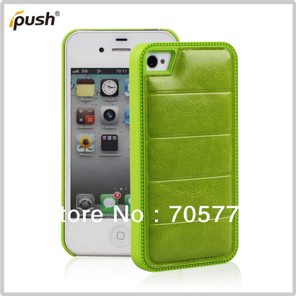 For Iphone 4G/GS Hybrid Combo PU Leather With Hard Case Plastic Rubber Cell Phone Case Free Shipping(China (Mainland))