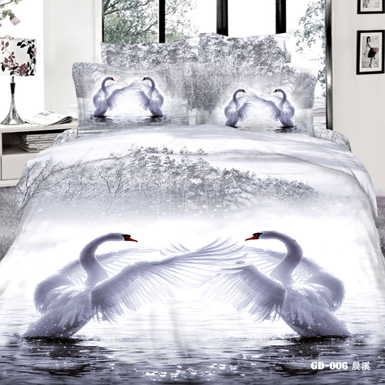 3d white swan bedding set california king queen size full double quilt duvet cover fitted sheets. Black Bedroom Furniture Sets. Home Design Ideas